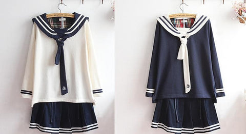 M-XL Beige/Navy Long Sleeve Sailor Top with Skirt Uniform Set SP153608 - SpreePicky  - 3