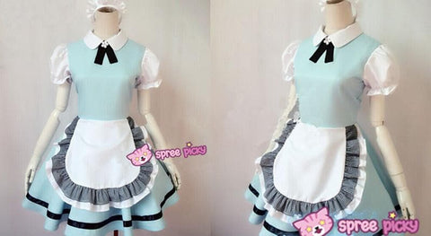 M/L Pastel Blue Lolita Maid Dress Cosplay Costume SP153557 - SpreePicky  - 2