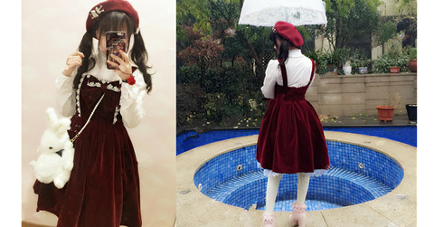 M/L Wine Lolita Demitoilet JSK Dress SP164767 - SpreePicky  - 2