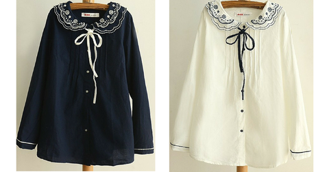 Navy/Beige Mori Girl Blouse With Flower Embroidery Collar SP165109