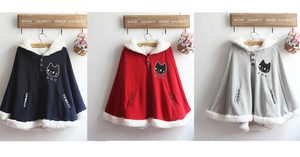 Navy/Red/Grey Sweet Girl Cutie Cat Cape Coat SP153479 - SpreePicky  - 2