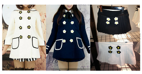 Navy/White Daisy Flowers Coat SP153806/Pant-skirt SP154355 - SpreePicky  - 2