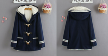 Load image into Gallery viewer, Navy Flaace Hoodie Winter Coat SP154290 - SpreePicky  - 3