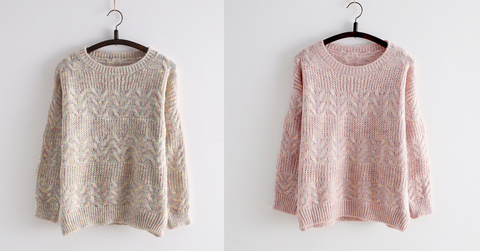 Pink/Apricot Kawaii Cutie Long Sleeve Sweater SP154028 - SpreePicky  - 3