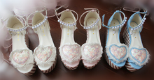 Load image into Gallery viewer, Pink/Blue/White Lolita Pearl High Platform Shoes SP165333