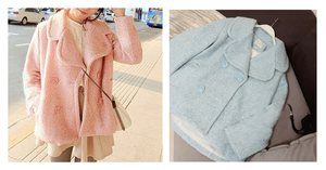 Pink/Blue Sweet Petal Shape Collar Woolen Coat SP154674 - SpreePicky  - 2