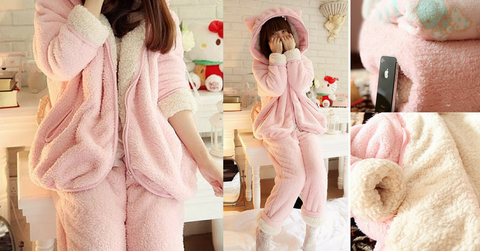 Pink Bunny Ear Fleece Home Wear Pajamas Set SP164925 - SpreePicky  - 2