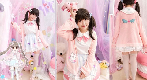 Kawaii Bunny Blouse/Skirt/Sweater SP153543 - SpreePicky  - 4