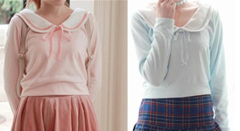 [Reservation] S/M Blue/Pink Sailor Collar Knitted Sweater SP153647 - SpreePicky  - 2