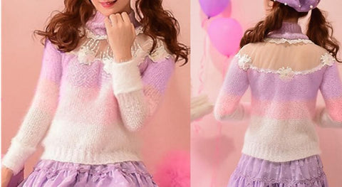 S/M/L Floral Candy Sweater SP153619 - SpreePicky  - 2