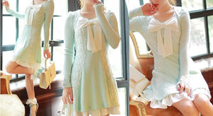 S/M/L Pastel Green Sweet Princess Long Sleeve Knitted Dess SP153502 - SpreePicky  - 3