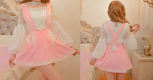 Load image into Gallery viewer, S/M/L Pink Sweet Bunny Ear Suspender Skirt SP165135