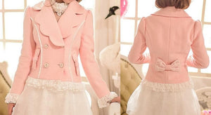 S/M/L Pinky Wave Collar Double-breasted Coat SP153623 - SpreePicky  - 2