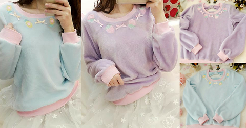 S/M/L Purple/Blue Kawaii Strawberry/Ananas Embroidery Shirt SP165488