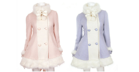 S/M/L [Reservation]Light Blue/Pink Winter Fluffy Fleece Coat SP154413 - SpreePicky  - 2