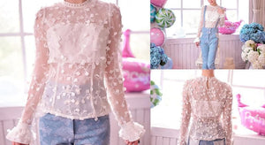 S/M/L Snow Dots Lace Top SP153419 - SpreePicky  - 2