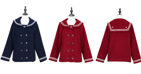 S/M/L Wine/Navy Sailor Sakura Embroider Woolen Uniform Coat SP154675 - SpreePicky  - 2
