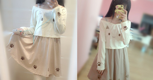 S/M Kawaii Kitty Cat Paw Top/Skirt/Set SP165500