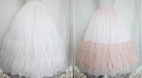 White/Black/Orange Pink Lolita Long Skirt Petticoat SP141087 - SpreePicky  - 2