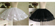 Load image into Gallery viewer, White/Black Bobby Lolita Fluffy Petticoat Skirt SP154049 - SpreePicky  - 2