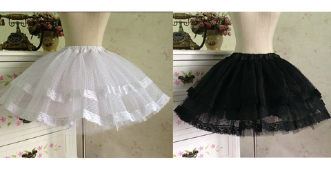 White/Black Bobby Lolita Fluffy Petticoat Skirt SP154049 - SpreePicky  - 2