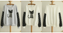 Load image into Gallery viewer, White/Grey Sleeping Kitty Sweater Jumper SP154312 - SpreePicky  - 2