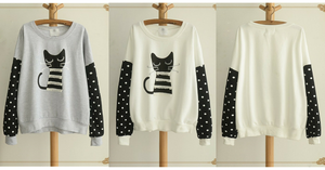 White/Grey Sleeping Kitty Sweater Jumper SP154312 - SpreePicky  - 2