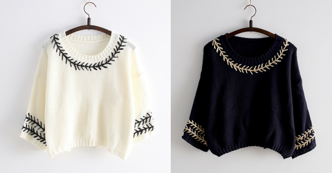 White/Navy Mori Girl Embroider Short Sleeve Fleece Sweater SP154029 - SpreePicky  - 2
