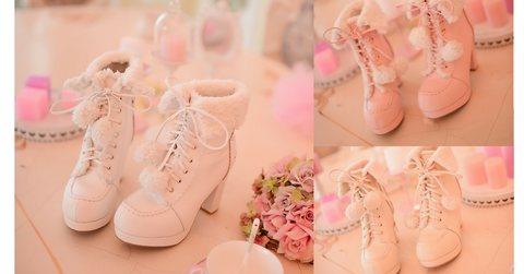 White/Pink/Apricot Fluffy Snowball Platform Heigh Heel Shoes SP154483 - SpreePicky  - 2