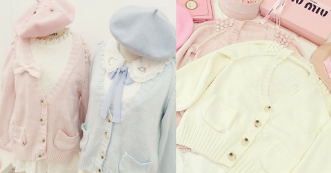 White/Pink/Blue Sweet Knitted Coat SP164881 - SpreePicky  - 2