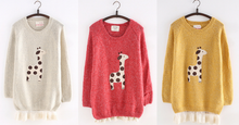 Load image into Gallery viewer, White/Red/Yellow Kawaii Pullover With Little Giraffe Printing SP165118 Kawaii Aesthetic Fashion - SpreePicky