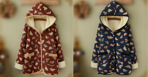 Wine/Navy Mori Girl Little Birds Fleece Hoodie Coat SP154078 - SpreePicky  - 2
