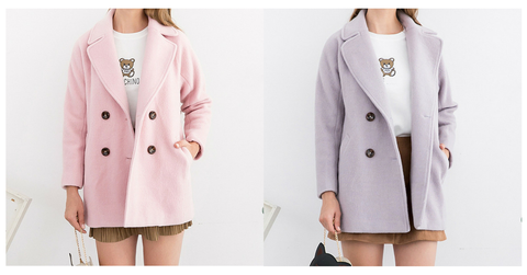 XS-L Pink/Purple Sweet Woollen Coat SP154540 - SpreePicky  - 2
