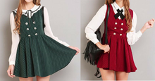 Load image into Gallery viewer, XS-L Red/Green School Girl Sleeveless Dress SP154283 Kawaii Aesthetic Fashion - SpreePicky