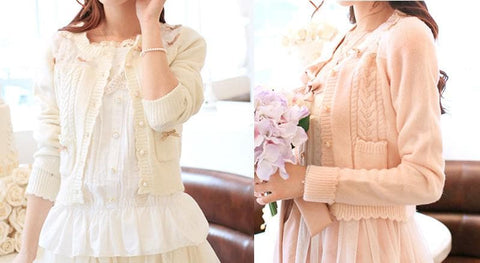 White/Beige/Pink Mori Girl Knitted Sweater Cardigan Jacket SP153443 - SpreePicky  - 3