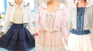 White/Grey/Pink Sailor Collar Embroidery Knitted Sweater Cardigan Coat SP153444 - SpreePicky  - 2