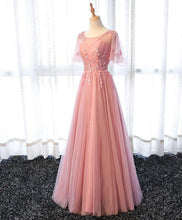 Load image into Gallery viewer, Pink A Line Tulle Lace Long Prom Dress, Lace Evening Dress - DelaFur Wholesale