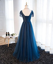 Load image into Gallery viewer, Dark Blue Tulle Beaded Long A Line Prom Dress, Formal Dress - DelaFur Wholesale