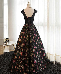 Black Lace Floral Patterns Long Prom Dress, Black Evening Dress - DelaFur Wholesale