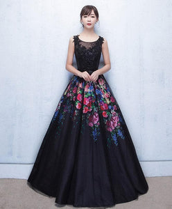 Black Floral Patterns Long Prom Dress, Black Evening Dress - DelaFur Wholesale