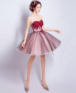 A Line Sweetheart Neck Tulle Mini Prom Dress, Homecoming Dress - DelaFur Wholesale
