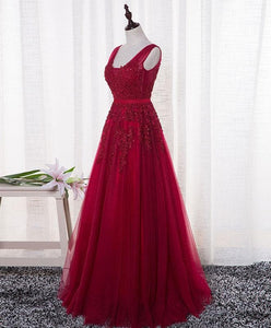 Red V Neck Tulle Long Prom Dress, Lace Evening Dress - DelaFur Wholesale