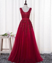 Load image into Gallery viewer, Red V Neck Tulle Long Prom Dress, Lace Evening Dress - DelaFur Wholesale