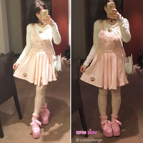 Pink/Violet Black Kawaii Candy Cat Cut Out Meow Suspender Dress SP165481