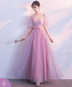 Pink Tulle Lace Long Prom Dress, Pink Evening Dresses - DelaFur Wholesale