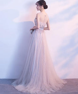Gray Round Neck Tulle Long Prom Dress, Gray Evening Dress - DelaFur Wholesale