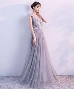 Gray A Line Tulle Lace Long Prom Dress, Lace Evening Dress - DelaFur Wholesale