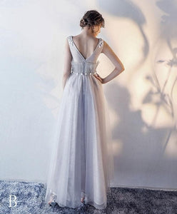 Stylish Gray Tulle Lace Long Prom Dress, Evening Dress - DelaFur Wholesale