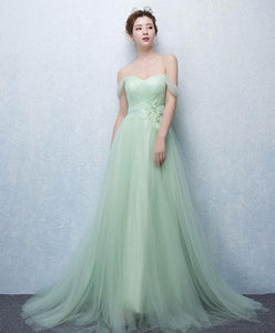 Cute Green Tulle Lace Long Prom Dress, Green Evening Dress - DelaFur Wholesale