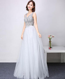 Gray V Neck Tulle Lace Long Prom Dress, Evening Dress - DelaFur Wholesale